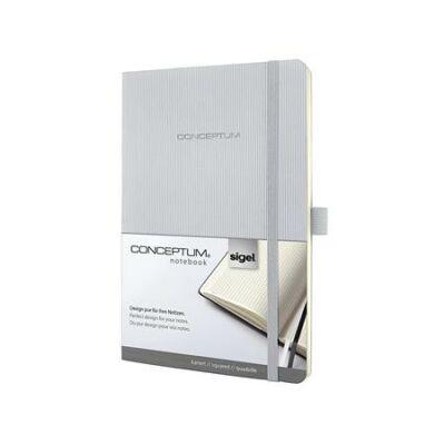 Jegyzetfüzet, exkluzív, A5, kockás, 97 lap, puhafedeles, SIGEL Conceptum, világosszürke (SICO322)