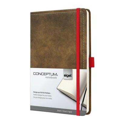 Jegyzetfüzet, exkluzív, A5, vonalas, 194 oldal, SIGEL Conceptum Vintage, barna (SICO603)
