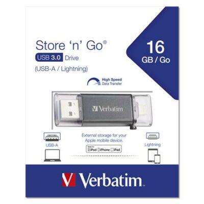 Pendrive, 16GB, USB 3.0, Lightning csatlakozó, VERBATIM Lightning grafit szürke (UV16GLG)