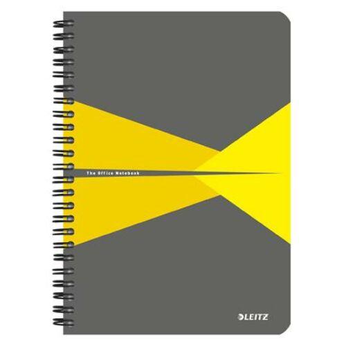 Spirálfüzet, A5, vonalas, 90 lap, laminált karton borító, LEITZ Office, szürke-sárga (E44590015)