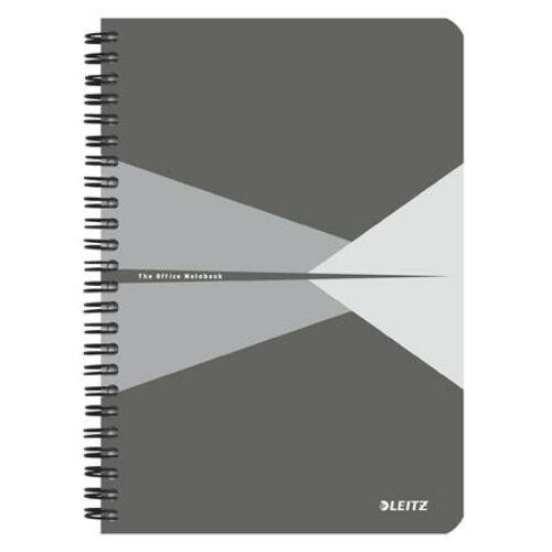 Spirálfüzet, A5, kockás, 90 lap, PP borító, LEITZ Office, szürke (E44980085)