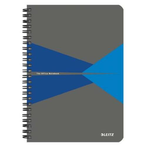 Spirálfüzet, A5, vonalas, 90 lap, PP borító, LEITZ Office, szürke-kék (E44990035)