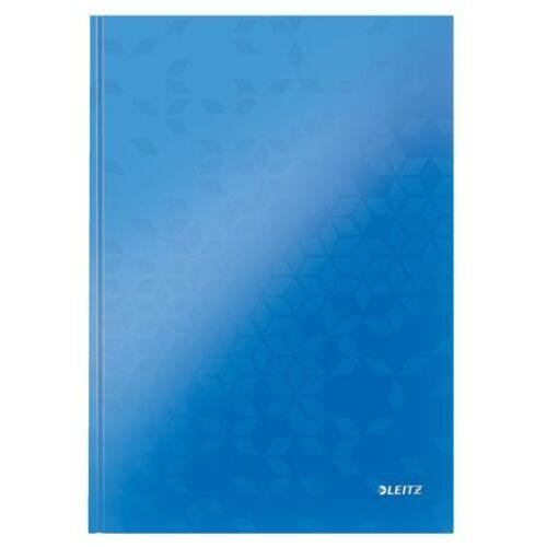 Beíró, A4, vonalas, 80 lap, keményfedeles, LEITZ Wow, kék (E46251036)
