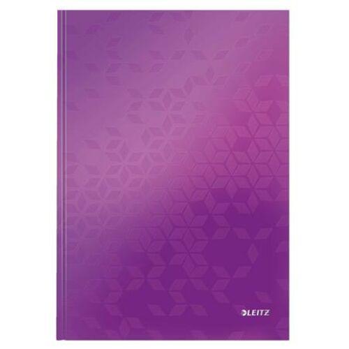 Beíró, A4, vonalas, 80 lap, keményfedeles, LEITZ Wow, lila (E46251062)