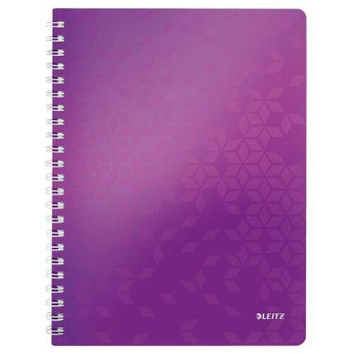 Spirálfüzet, A4, kockás, 80 lap, LEITZ Wow, lila (E46380062)