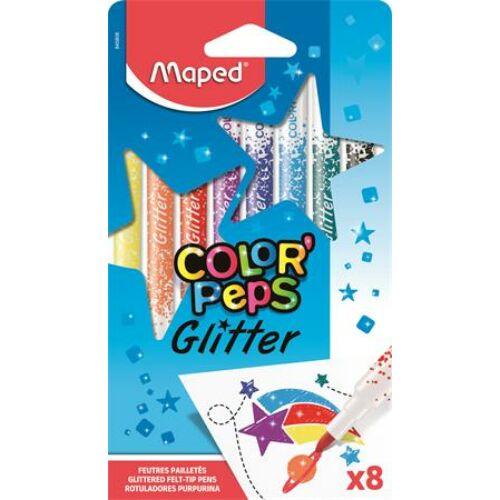 Filctoll készlet, 2,8 mm, csillámos, MAPED Color`Peps Glitter, 8 különböző szín (IMA845808)