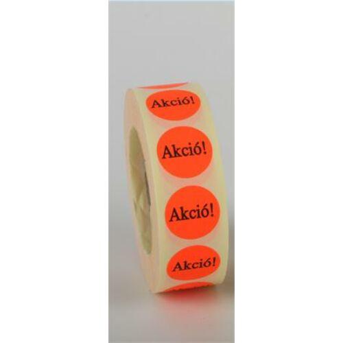 Etikett, 20 mm kör, AKCIÓ felirattal, 1000 etikett/tekercs, piros (ISCK20AP)