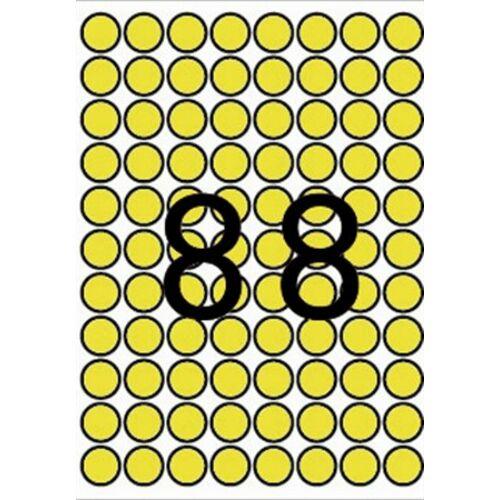 Etikett, 16 mm kör, színes, A5 hordozón, APLI, sárga, 704 etikett/csomag (LCA12097)