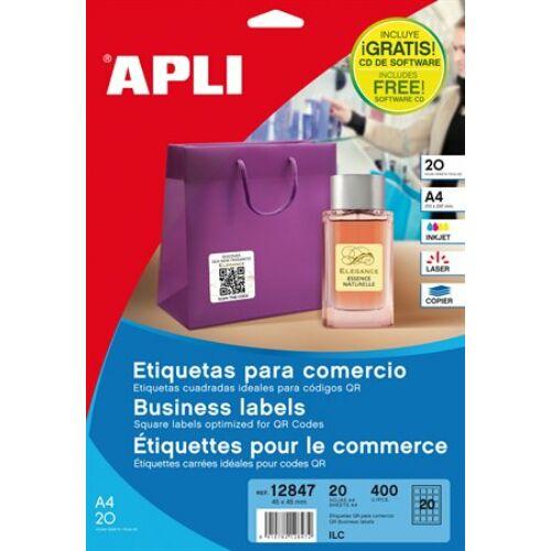 Etikett, információs, 45x45 mm, APLI, 400 etikett/csomag (LCA12847)