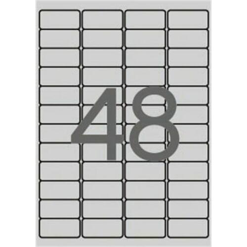 Etikett, 45,7x21,2 mm, poliészter, időjárásálló, kerekített sarkú, APLI, ezüst, 4800 etikett/csomag (LCA12973)