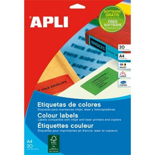 Etikett, 105x148 mm, színes, APLI, zöld, 80 etikett/csomag (LCA12994)