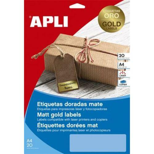 Etikett, lézernyomtatókhoz és fénymásológépekhez, 210x297 mm, APLI, matt, arany színű, 1 etikett/csomag (LCA14888)