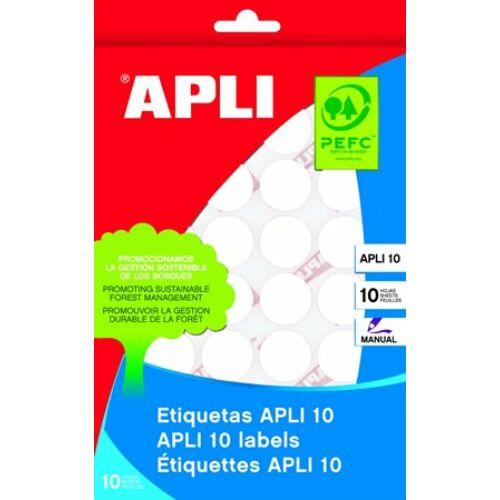 Etikett, 13 mm kör, kézzel írható, APLI, 770 etikett/csomag (LCA1626)