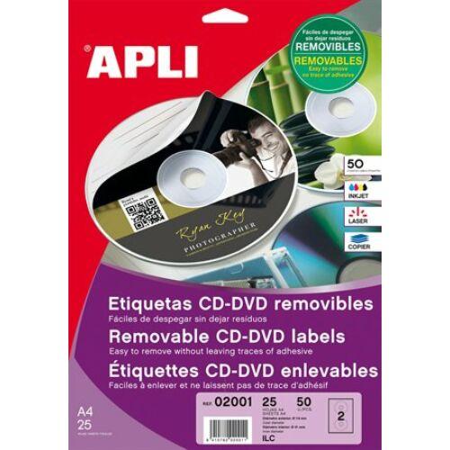 Etikett, CD/DVD, A4, matt, eltávolítható, APLI (LCA2001)