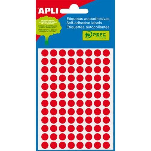 Etikett, 8 mm kör, kézzel írható, színes, APLI, neon piros, 288 etikett/csomag (LCA2081)