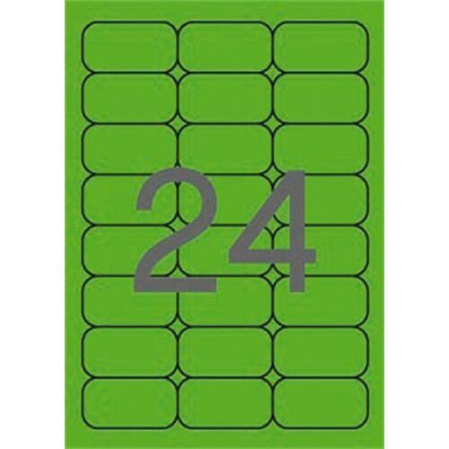 Etikett, 64x33,9 mm, színes, kerekített sarkú, APLI, neon zöld, 480 etikett/csomag (LCA2873)