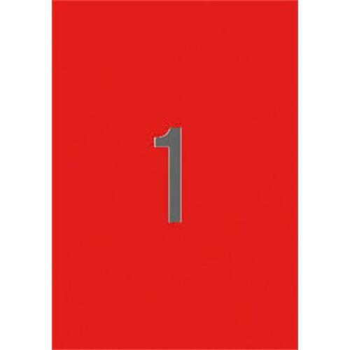 Etikett, 210x297 mm, színes, APLI, neon piros, 20 etikett/csomag (LCA2880)