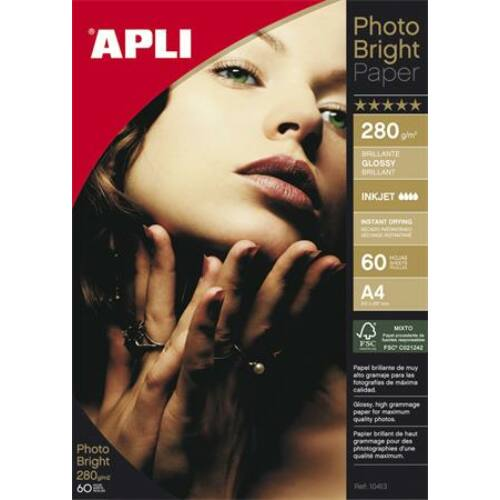 Fotópapír, tintasugaras, A4, 280 g, fényes, APLI Photo Bright (LEAA10413)