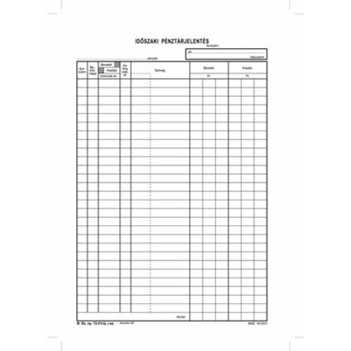 Nyomtatvány, időszaki pénztárjelentés, 25x4, A4, VICTORIA B.13-21, 10 tömb/csomag (NVB1321V)