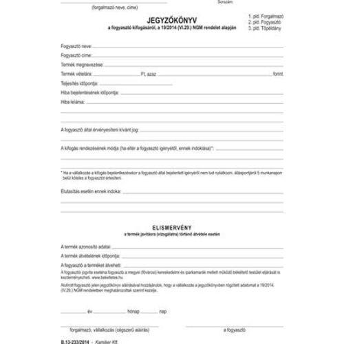Nyomtatvány, jegyzőkönyv a fogyasztó minőségi kifogásáról, 25x3, A5, VICTORIA, B.13-233, 20 tömb/csomag (NVB13233)