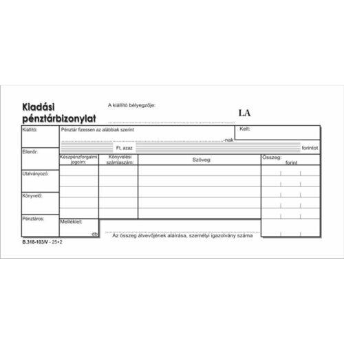 Nyomtatvány, kiadási pénztárbizonylat, 25x2, VICTORIA B.318-103, 10 tömb/csomag (NVB318103V)