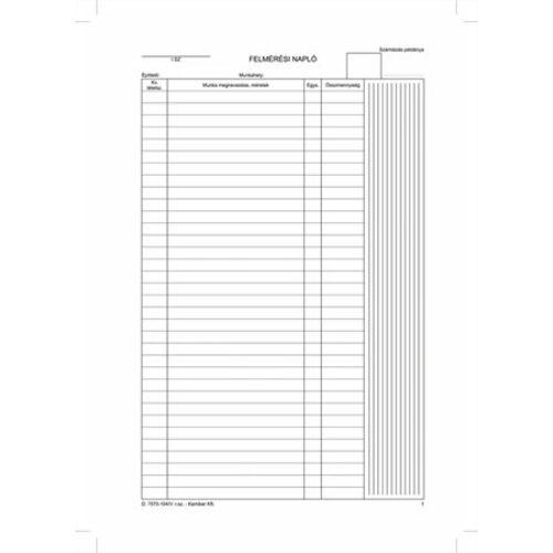 Nyomtatvány, felmérési napló, 25x5, A4, VICTORIA D.7570-104, 10 tömb/csomag (NVD7570104)