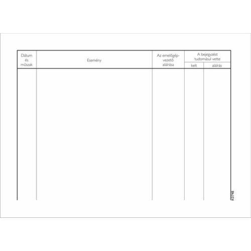 Nyomtatvány, emelőgépnapló, 25 lap, A5, VICTORIA, 20 tömb/csomag (NVKO748)