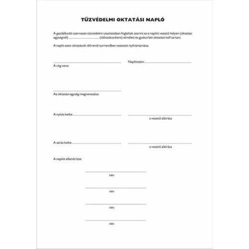 Nyomtatvány, tűzvédelmi oktatási napló, 40 oldal, A4, VICTORIA, 10 tömb/csomag (NVKO751)