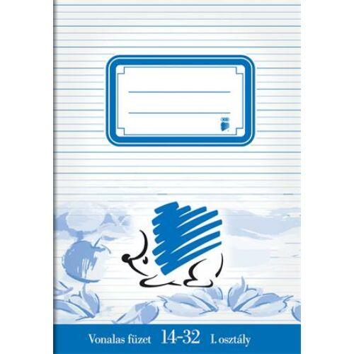 Füzet, tűzött, A5, vonalas, 32 lap, 1. osztály, ICO Süni (TICSU1432)