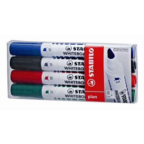 Táblamarker készlet, 1-5 mm, vágott, STABILO Plan, 4 különböző szín (TST6434PL)